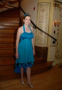custom made wedding reception dress for Rachel by Rebecca Wendlandt