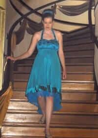 custom made wedding reception dress for Rachel by Rebecca Wendlandt