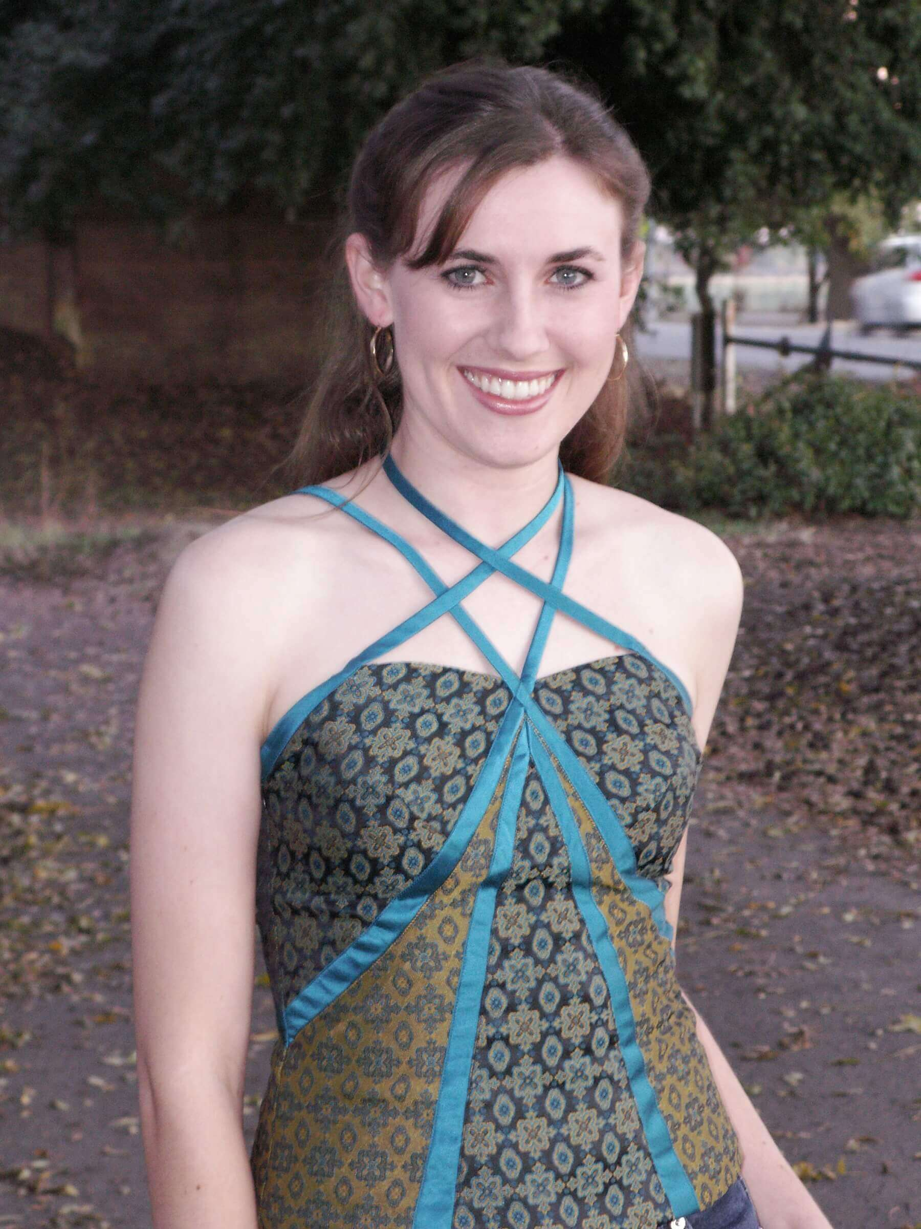 custom made green brocade shirt - by Rebecca Wendlandt