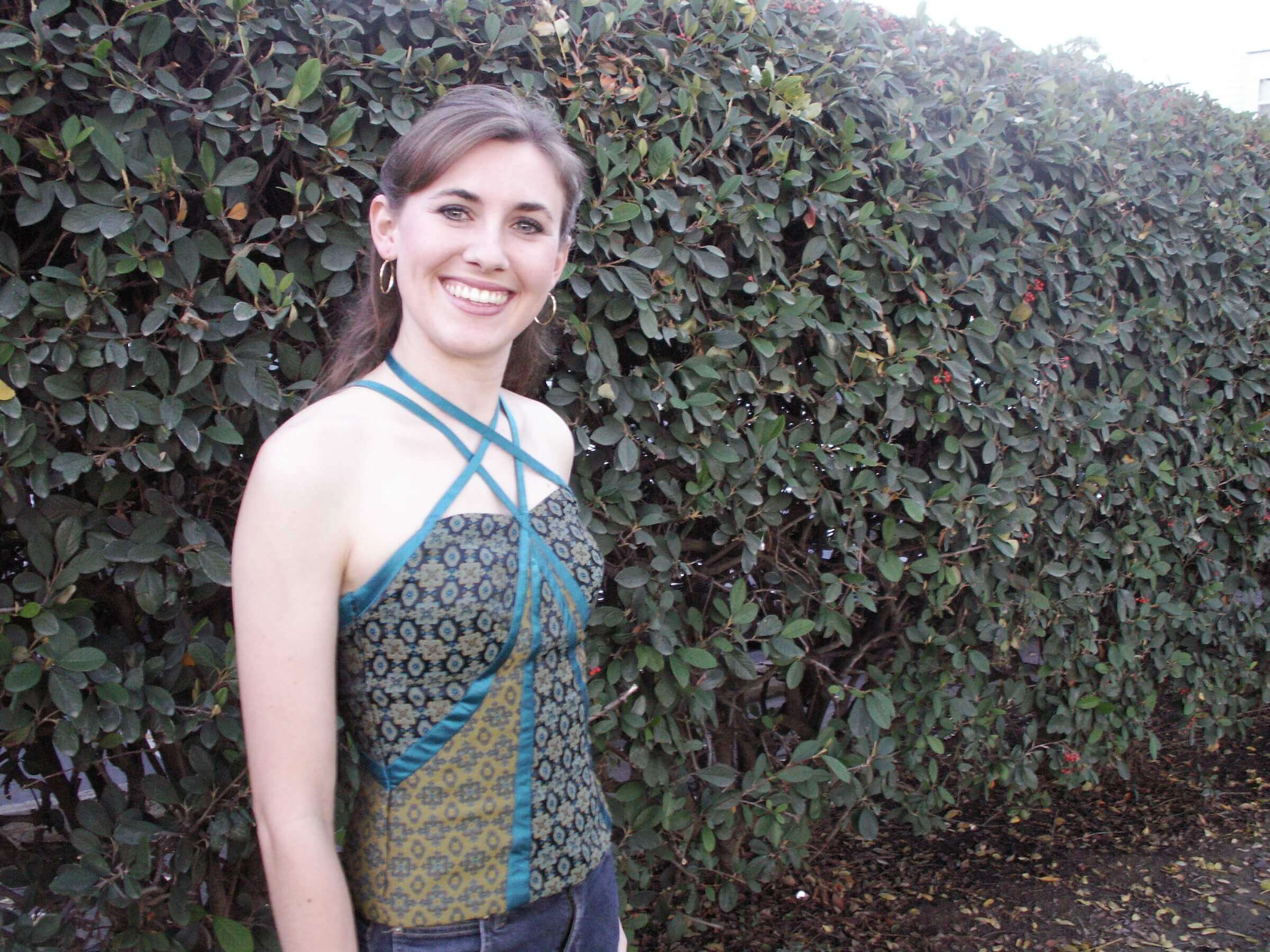 custom made green brocade shirt - by Rebecca Wendlandt