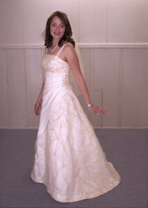custom made wedding dress for Laura by Rebecca Wendlandt
