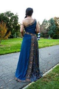 custom made sari inspired wedding dress for Shareena by Rebecca Wendlandt