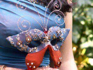 custom made sari inspired wedding mask for Shareena by Rebecca Wendlandt