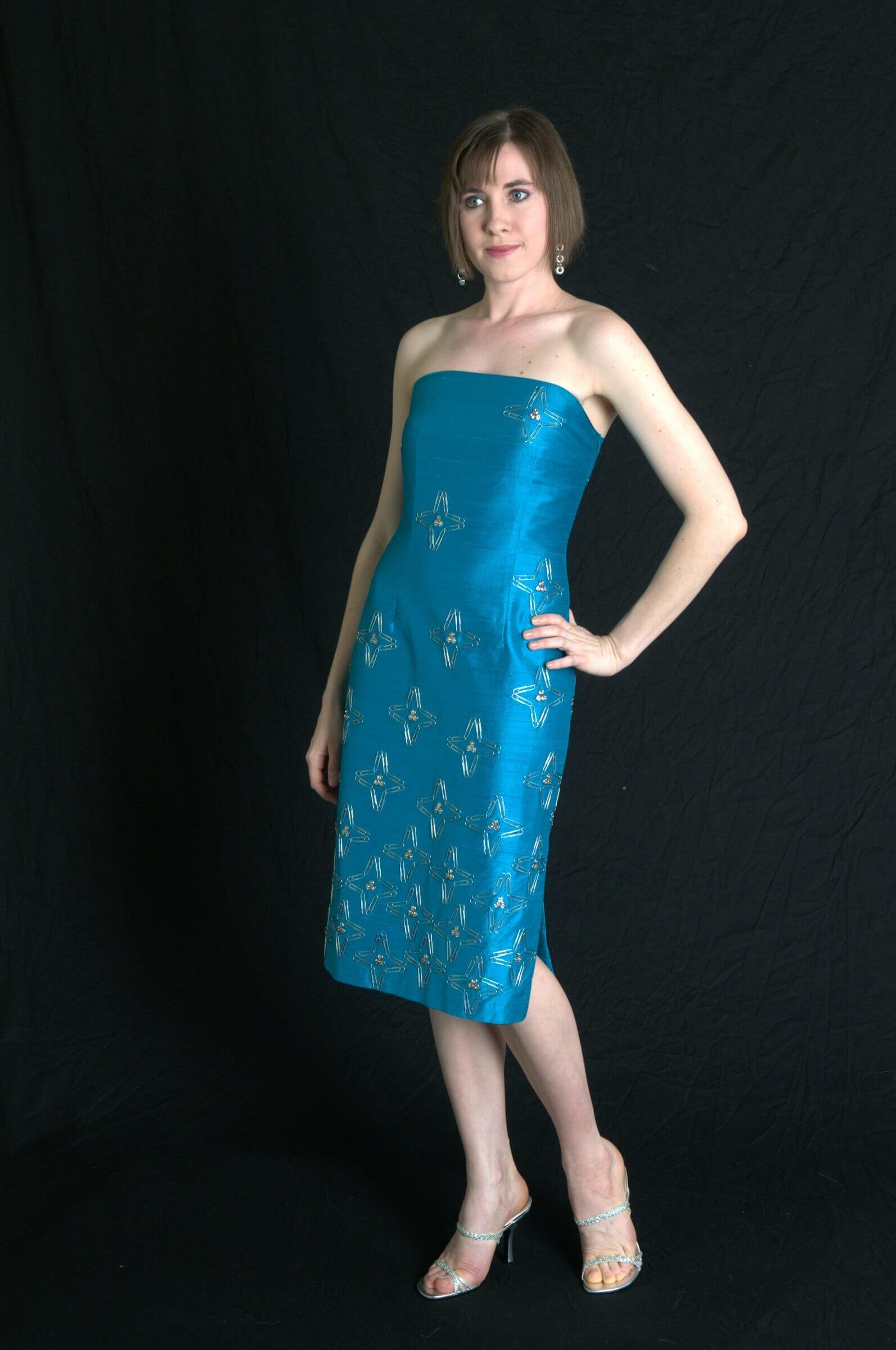 Evening wear cocktail dress with Paperclip Embellishments by Rebecca Wendlandt