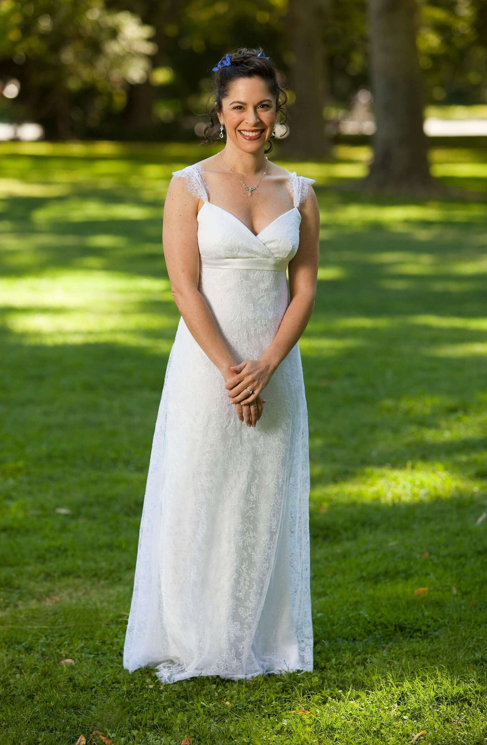 custom made wedding dress for Rebecca by Rebecca Wendlandt