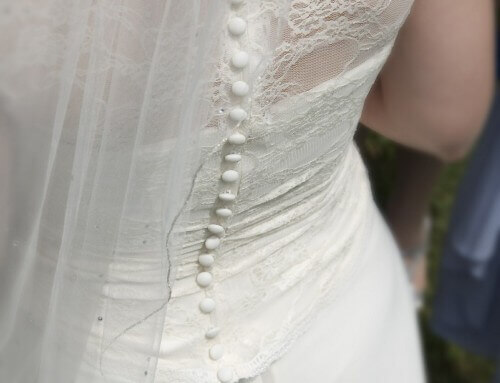 Alteration: Lace over wedding dress bodice – Jessica