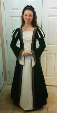 custom made Renaissance inspired costume made for the Vacaville Madrigal Choir - sewn by Rebecca Wendlandt